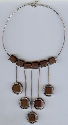 Vintage Necklace | Artist ?.  Sterling silver and wood.