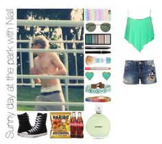 """Sunny day at the park with Niall"" by michaelssmile ❤ liked on Polyvore featuring Disney, Converse, Casetify, Ray-Ban, Clé de Peau Beauté, NARS Cosmetics, Mary Kay, Ilia, Chan Luu and Chanel"