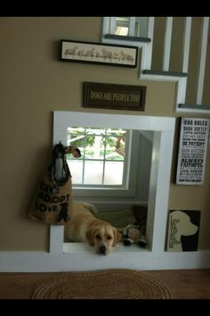 indoor dog house under stairs. I love how bright and sunny that area is!!!