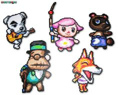 Five Custom Animal Crossing Bead Sprites commissioned for Christmas of Features K. Slider, Female Character, Tom Nook, The Mayor and Chief. Video Game Systems Information. Perler Bead Designs, Hama Beads Design, Hama Beads Patterns, Perler Bead Art, Beading Patterns, Hama Beads Animals, Beaded Animals, Animal Crossing, Modele Pixel Art