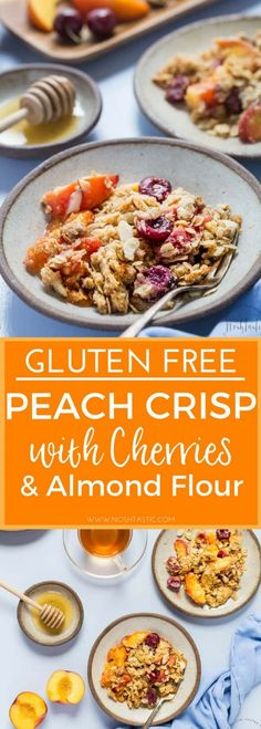 This is a really delicious Gluten Free Peach Crisp with Cherries and Apricots and topped with a tasty almond flour and oat crisp, it's a great healthy vegan breakfast or dessert!