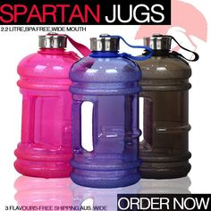 Now in stock at Spartansuppz.com!  The all new Spartan Jugs! 2.2L BPA Free bottles. Comes in: Pink Black Blue!