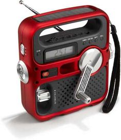Emergency radio. AC adapter, AAA batteries, solar power and a hand-crank power generator. AM/FM, NOAA weather bands, built-in LED flashlight, emergency red LED signal beacon and best of all, a USB cell phone charger. Windey.