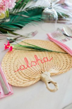 Aloha fan place setting from a Tropical Flamingo Paradise Party on Kara's Party Ideas | KarasPartyIdeas.com (13)