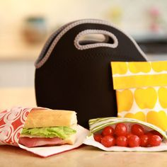 How cute are these colorful lunch skins for toting sammies to work?