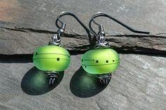 Lime green and gunmetal earrings, wire wrapped earrings £12.00