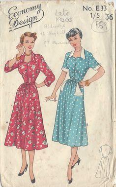 "1940s Vintage Sewing Pattern DRESS B36"" (R69) | eBay"