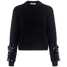 Mcq Alexander Mcqueen - Cluster Beaded Cropped Sweater ($480) ❤ liked on Polyvore featuring tops, sweaters, cropped crew neck sweater, mcq by alexander mcqueen, cut-out crop tops, crew neck crop top and glitter top