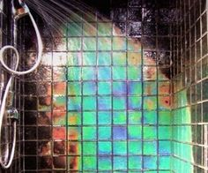 Moving Color Northern Lights Heat Sensitive Color Changing Glass Shower Tile in Home & Garden, Home Improvement, Building & Hardware Sweet Home, Glass Shower, Shower Tiles, Bath Tiles, Shower Bathroom, Mosaic Tiles, Zen Bathroom, Light Bathroom, Room Tiles