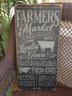 Farmers Market sign hand painted wooden by ThePeddlersShed on Etsy
