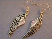 Pink Crystal Brass Angel Wings Earrings