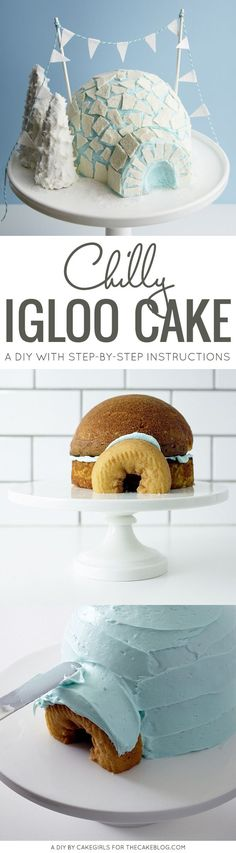 Igloo Cake! An adorable winter cake for holiday parties and Christmas dessert | Cakegirls for TheCakeBlog.com