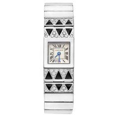 Cartier - Montre Femme - Or blanc, Diamants et Onyx