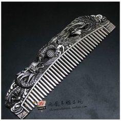 Tribal Jewelry Tibet Silver Dragon phoenix play bead Auspicious Hair Comb
