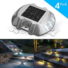 Solar Deck LightSOLMORE 4 Pack LED Solar Dock Path Road Lights Marker lightingWaterproof Security Warning Lights for Outdoor Fence Patio Stud Yard Home Driveway Pathway Stairs Step Garden Lamp White -- You can find out more details at the link of the image-affiliate link.