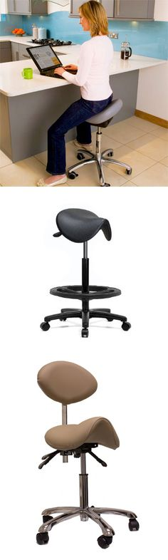 Height Adjustable Saddle Stool. I use these at work, they are life savers!