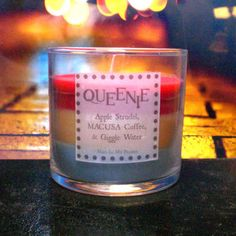 Queenie Scented 4 oz Candle: Apple Strudel, MACUSA Coffee, & Giggle Water