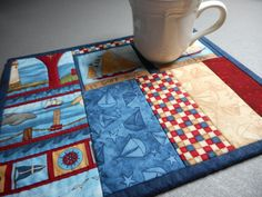 Nautical Quilted Table Mat Patriotic Snack Mat by SewEverAfter