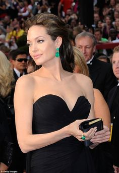 Celebrity Angelina Jolie jade green earrings and ring duo bridal set bridal earrings Jade Earrings, Bridal Earrings, Angelina Jolie Photos, Simple Black Dress, Colombian Emeralds, Style And Grace, Jade Green, Bridal Sets, Strapless Dress