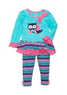 Nannette  Owl Rainbow Tunic and Legging 2-Piece Set Girls 4-6X