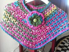 Ravelry: Matching Poncho for 30 Minute hat pattern by Mary Ann Colatuno Crochet Baby Poncho, Crochet Girls, Love Crochet, Crochet Scarves, Crochet For Kids, Crochet Shawl, Crochet Clothes, Knit Crochet, Crochet Cape