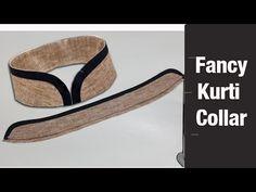 Fancy Kurti collar neck cutting and stitching Kurti Sleeves Design, Kurta Neck Design, Sleeves Designs For Dresses, Dress Neck Designs, Collar Designs, Churidar Neck Designs, Kurta Designs, Kurti Patterns, Dress Sewing Patterns