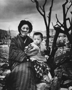 (mother and child 4 months after atomic bomb dropped)