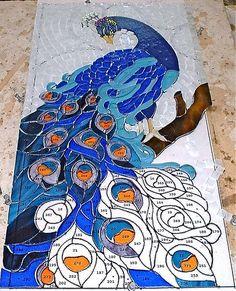 The peacock is still slowly progressing Stained Glass Paint, Stained Glass Birds, Stained Glass Panels, Stained Glass Projects, Stained Glass Patterns, Mosaic Patterns, Mosaic Crafts, Mosaic Projects, Mosaic Art