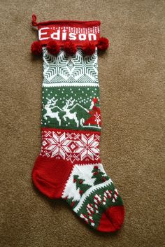 ideas knitting christmas stocking families for 2019 Knitted Christmas Stocking Patterns, Crochet Stocking, Needlepoint Christmas Stockings, Xmas Stockings, Christmas Knitting, Norwegian Christmas, Lana, Knitting Patterns, Christmas Colors
