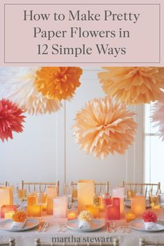 Follow one of our basic techniques for paper flower-making or learn how to make a particular species of flower for a spectacular gift, centerpiece, table place setting, party favor, or decoration. #marthastewart #crafts #diyideas #easycrafts #tutorials #hobby