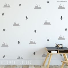 Mountains nursery wall decals nursery decal mountains decal wall stickers vinyl decal nordic d Nursery Wall Decals Boy, Vinyl Wall Decals, Mountain Nursery, Tree Decals, Wall Design, Design Design, House Design, Rental Decorating, Room Paint