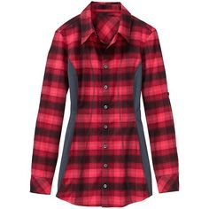 Fin Creek Flannel Top - The lighter-weight plaid flannel with a classic button-down front and feminine style lines.