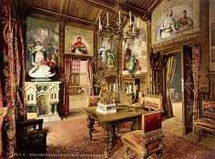 Here is one of King Ludwig's offices in Neuschwanstein. The castle was complete with electricity, running water and working telephone lines.