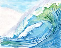 Fine Art Print: Mavericks wave(8), California - watercolor painting on archival art paper, or durable vibrant metal (#80068) by art4sea on Etsy