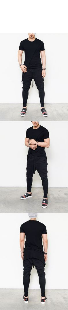 Bottoms :: Sweatpants :: Slim Drop Baggy Coating Leather & Jersey-Sweatpants 129 - Mens Fashion Clothing For An Attractive Guy Look