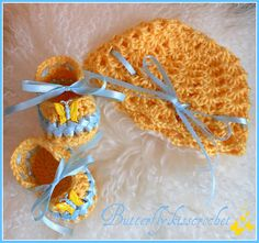 Sky Blue Aquamarine and Golden Yellow by butterflykisscrochet, $25.00