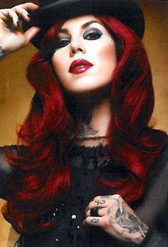Kat Von D dark red hair