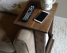 Sofa Chair Arm Rest Table Stand II with Storage Pocket for Magazines Remotes