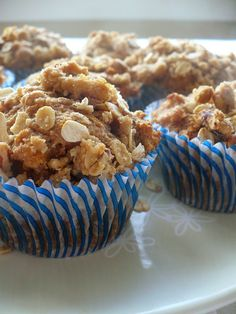 Chunks of apples are baked in a cinammon batter sweetened with honey and then topped with a oat and pecan crumble.