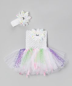 Take a look at this White Dot Tutu Dress & Flower Clip - Infant, Toddler & Girls by Bride and Babies on #zulily today!