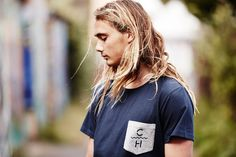 Pama in Navy Notts Pocket Tee. Bed Back, Menswear, T Shirts For Women, Pocket, Navy, Tees, Clothing, Fashion, Hale Navy