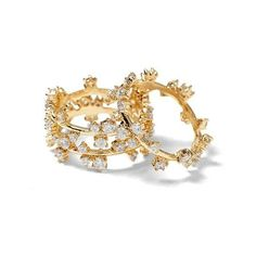 Banana Republic Womens Delicate Cluster Stack Ring ($38) ❤ liked on Polyvore featuring jewelry, rings, gold, banana republic, imitation jewelry, cluster jewelry, fake rings and cluster rings
