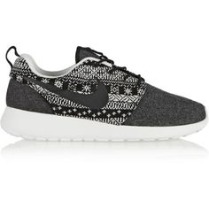Nike Roshe One Winter wool and wool-felt sneakers ($65) ❤ liked on Polyvore featuring shoes, sneakers, grey, lace up shoes, laced shoes, laced up shoes, felt shoes and nike shoes