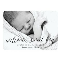 Welcome Sweet Boy - Photo Birth Announcements #baby #birthannouncements