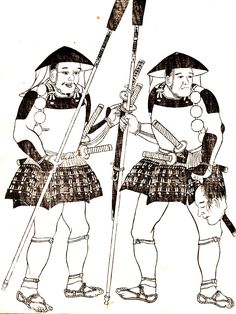 Ashigaru spearmen, the one on the right is holding the severed head of an enemy and the captured swords are tied to the shaft of his spear.