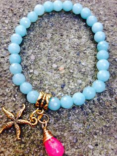 Mother Day Gift.Light Blue Faceted Agate Bracelet by OohlalaGems, $39.00