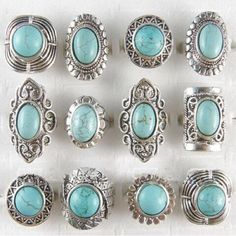New Arrival Wholesale Vintage Jewelry Lots Turquoise Stones Antique Silver Plated Women Mens Rings Buy Now Discount: Price: USD USD New Arrival Wholesale Vintage Jewelry Lots Turquoise Stones Antique Silver Plated Women Mens Rings Turquoise Rings, Turquoise Stone, Turquoise Color, Silver Jewelry, Vintage Jewelry, Silver Rings, Jewlery, Resin Jewelry, Bracelets