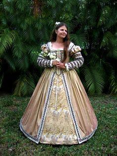 Blush Silk Gown Renaissance Dress