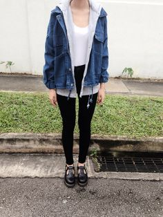 White n denim Layers, but would ditch the footwear and opt for trusty classic converse :)