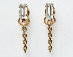 Bing Bang Baguette Continuous Earrings (dainty chain wraps from front to back of ear, super chic!) | @bingbangnyc